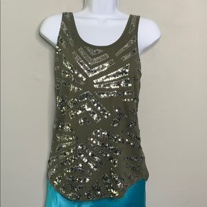 Express Olive Army Green Sequin Tank Top D2 0326